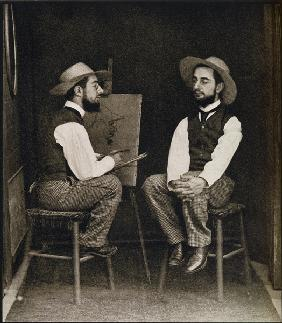Double portrait of Toulouse-Lautrec, from ''Toulouse-Lautrec'' by Gerstle Mack, published 1938 (b/w