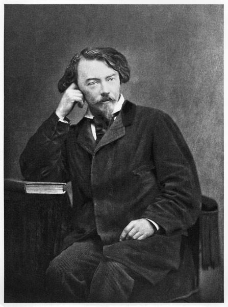 Portrait of Comte Auguste de Villiers de L''Isle-Adam (1838-89) 1886 (b/w photo)