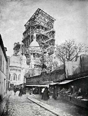 The Construction ot the Sacre Coeur in Montmartre, c.1885-90 (b/w photo)
