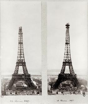 Two views of the construction of the Eiffel Tower, Paris, 12th February and 12th March 1889 (b/w pho