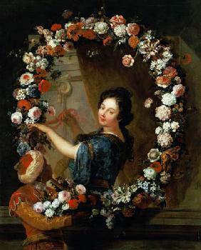 Portrait of a Woman Surrounded by Flowers, presumed to be Julie d'Angennes
