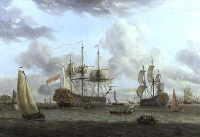 Dutch Shipping Scene in a Wide Estuary
