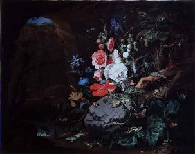 Flowers and birds in a cave