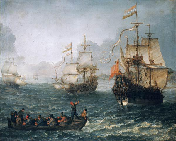 Sea landscape with sailing ships