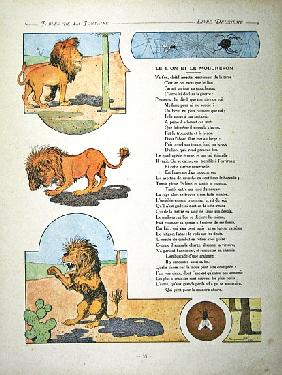 The lion and the gnat, illustration from ''Fables'' Jean de la Fontaine, 1906 edition