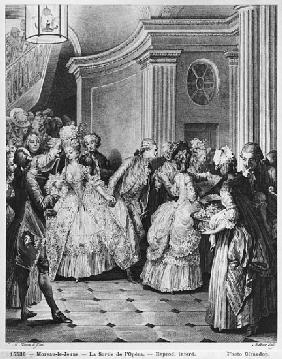 Coming out of the Opera; engraved by Georges Malbeste or Malbete (1743-1809)