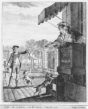 Taking up a bet; engraved by Camligue (fl.1785) c.1777