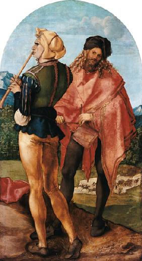 Jabach altar: Piper and drummer