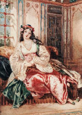 A Lady Seated in an Ottoman Interior Wearing Turkish Dress