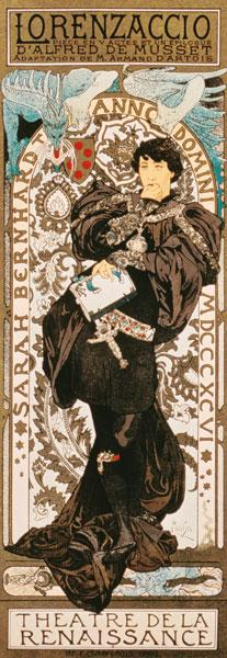 Art Nouveau poster for Lorenziaccio of Alfred de must Laly renaissance in the Theatre de
