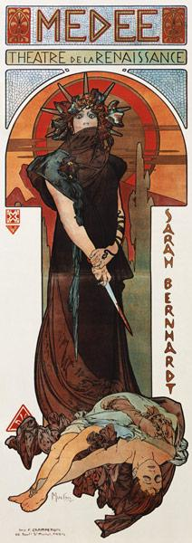 Médée, poster for Sarah Bernhardt's and the Théatre de's La renaissance
