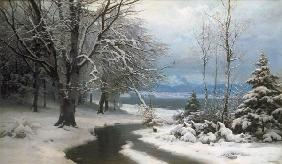 Winter landscape with brook and sea