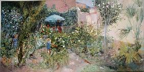 An Italian Garden, 1989 (oil on board)