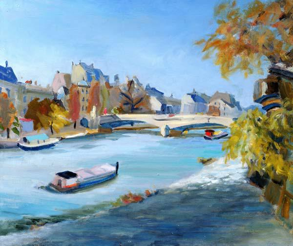 Barge sailing down the river Seine in Paris (oil on canvas)
