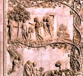 Bas-relief panel depicting scenes from Genesisfrom the lower facade