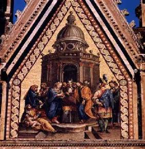 Detail from the facade of Orvieto Cathedraldepicting the Marriage of the Virgin