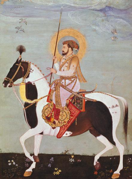 Equestrian portrait of Shah Jahan (1592-1666), 5th Mogul Emperor of Hindustan,Indian
