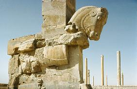 Sculpture of a Bullwith a view of the Hall of a Hundred Columns and of the Apadana (audience hall) A