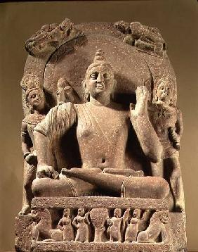 Seated Bodhisattva, carved red sandstone, Mathura,UP