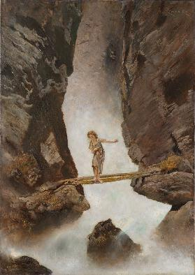 Girl crossing a mountain torrent