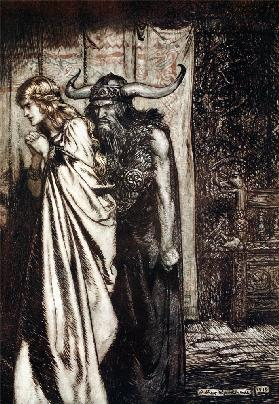 "O wife betrayed I will avenge they trust deceived! Illustration for ""Siegfried and The Twilight of t"