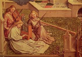 The Fountain of Grace, detail of three angel musicians