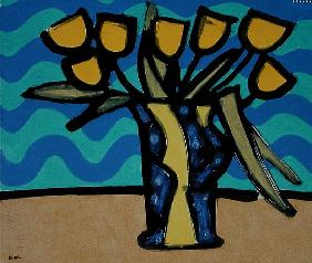 Yellow Tulips, 1996 (oil, pastel and Indian ink on paper)