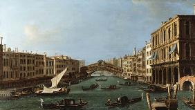 View of the Grand Canal from the South, the Palazzo Foscari to the right and the Rialto Bridge beyon