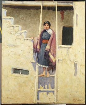 Hopi Maiden, Village of Walpi (oil on canvas)