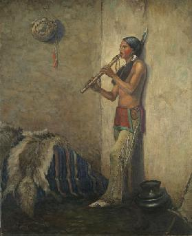 Indian with flute (oil on canvas)