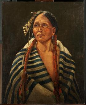 Indian with striped blanket (oil on canvas mounted on panel)