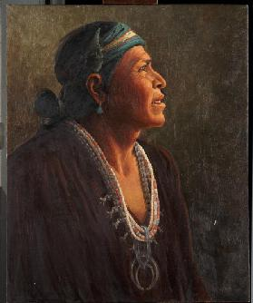 Ta-otza-begay, also called Meguelito, Navajo Medicine Man (oil on canvas mounted on panel)