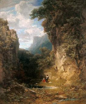 Mountain ravine of women taking a bath