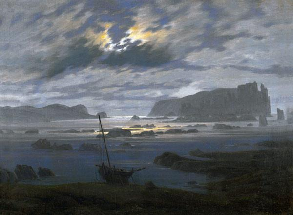 Nordic sea in the moonlight