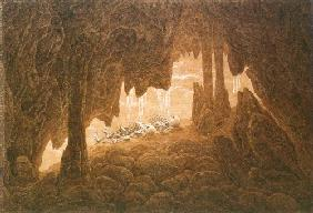 Skeletons in the dripstone cave