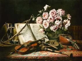 Music still life with peonies
