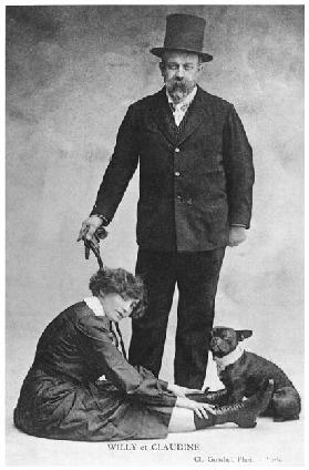 Postcard depicting Colette (1873-1954) and Willy (1859-1931) (b/w photo)