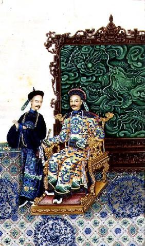 Emperor Seated with a Man
