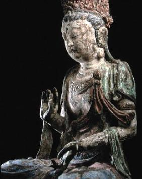 Large seated bodhisattva with hands raised