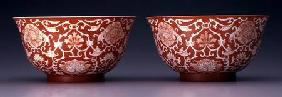 Pair of Bowls with lotus and hibiscus flowers