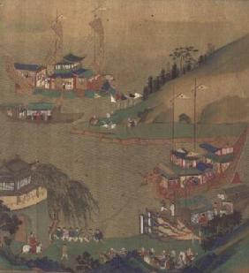 The Second Sui Emperor, Yangdi (569-618) with his fleet of sailing craft, from a history of Chinese
