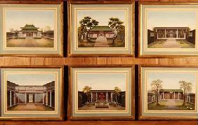 Set of Six Chinese Pavilions and Courtyard Scenes