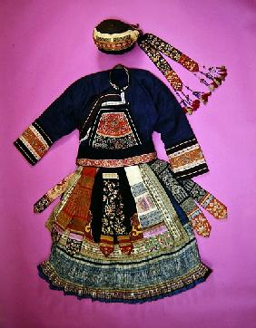 Woman''s Dress and Basketry Hat, Ch''uan Miao (textile)