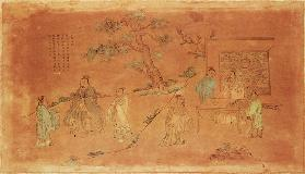 Scene from the life of Confucius (c.551-479 BC) and his disciples, Qing Dynasty (1644-1912)