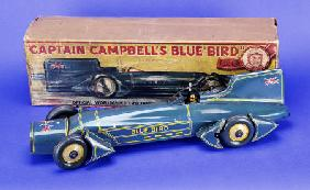 A Gunthermann ''Captain Campbell''s Bluebird'', Clockwork Blue Lithographed Tinplate Car, In Origina