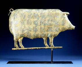 A Molded And Copper Gilded Copper Pig Weathervane