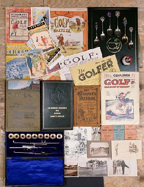 A Selection Of Golfing Memorabilia Including Photographs, Postcards And Books