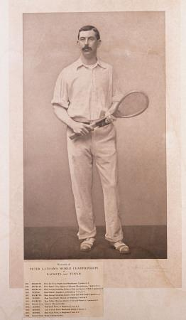 A Signed Pphotograph Of British Racquet And Tennis Champion Peter Latham With A List Of His Titles