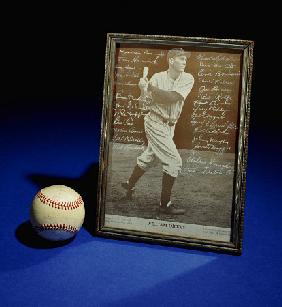 A William Dickey Picture Signed By The Yankees Team And A Signed Baseball Including The Signature Of