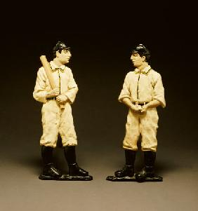 Pair Of Painted Cast Iron Baseball Player Andirons